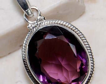 5 Carat Natural Amethyst Pendant set in Sterling Silver!