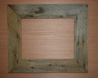 "Rustic Weathered Reclaimed Oak Barn Wood Picture Frame 11"" x 14"", One of a Kind, Handmade"