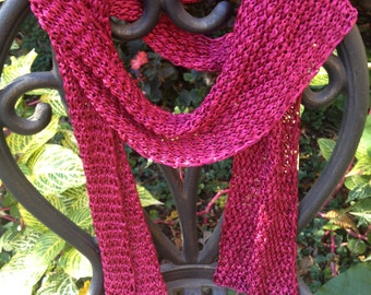 Micro-ribbon Handknitted Scarf in Raspberry Red
