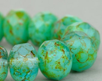 Czech Glass Beads - Czech Glass Rondelles - Turquoise Aqua Mix Opaque with Picasso Fullcoat - 9x6mm - 25 Beads