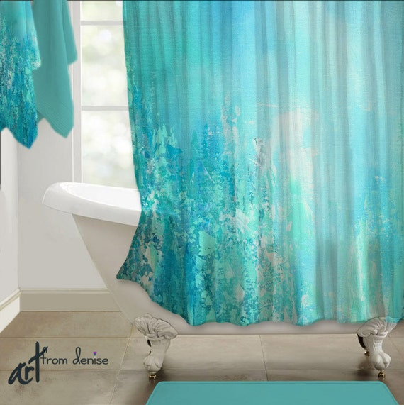 Teal Blue Aqua Gray Shower Curtain Abstract Art Turquoise