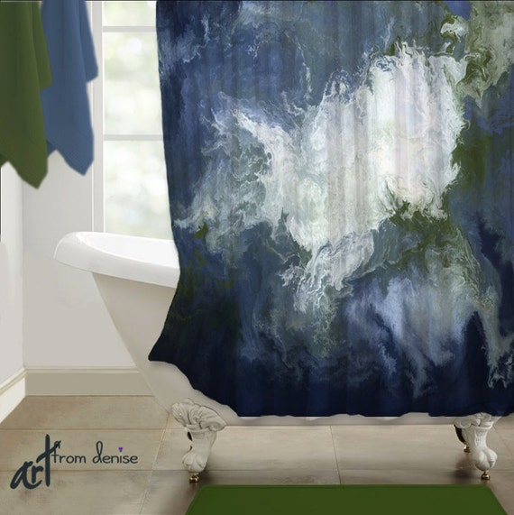 Abstract SHOWER CURTAIN Art Navy Blue Olive Green Sage