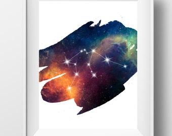 Aquarius constellation art, aquarius print, aquarius zodiac, astrology art, aquarius wall art, horoscope art, aquarius gift, digital art