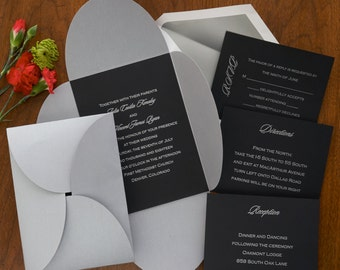 Vertical Blossom Invitation Set - Thermography Wedding Invite - Classic Wedding Invite - Wedding Invite Suite - AG4