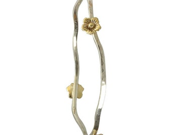 Mixed Metals Silver andGold Flower Bangle