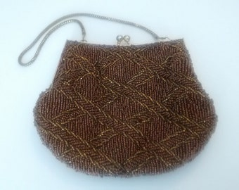 Vintage Du Val Beaded Brown Clutch Purse