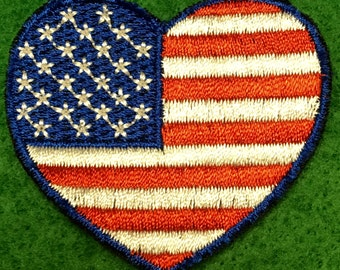American Flag Heart Embroidered Patch