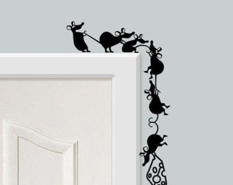 mice hanging from door with chesse (sticker wall decal) (style 2)