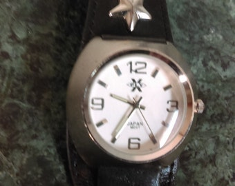 Vintage X Fly watch black leather