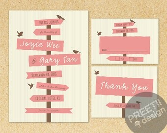 Love Direction Printable Wedding Invitation