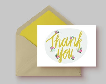 Thank You Cards| 8 card set | illustrated with flowers