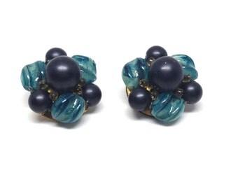 Vintage Costume Hong Kong Blue Beaded Cluster Clip On Earrings