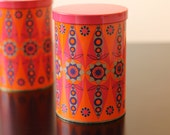 2 vintage Tomado containers, Dutch design, 1970's, Holland, canister, tin container