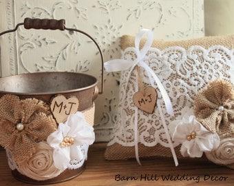 Ring Bearer Pillow, Flower Girl Basket, Rustic Wedding, White Lace, Burlap, Bronze, Rustic
