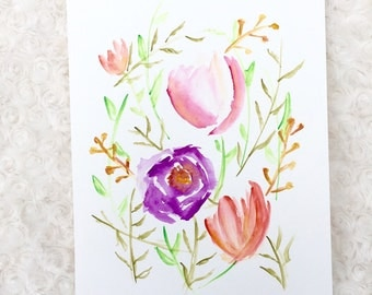 Autumn color flowers, Watercolor flower, floral wall decor, colorful art,