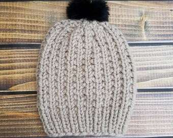 Neutrals- ribbed hat.