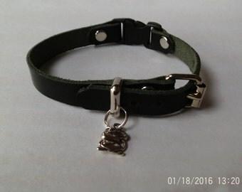 Handmade Leather Cat  collar
