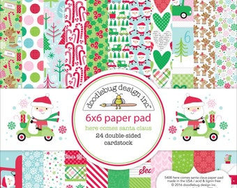 "Doodlebug Design Here Comes Santa Claus 6"" x 6"" Christmas Scrapbook Paper Pad"