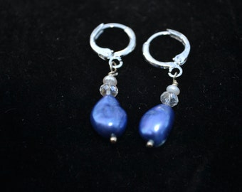 Cobalt blue freshwater pearl earrings with crystal and seed pearl