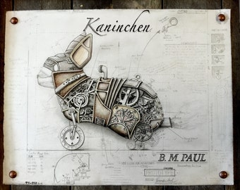 "Steampunk Rabbit Illustration ""Kaninchen"" - 11x14 Art Print"