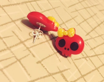 Red Skull Earrings with Yellow Bow