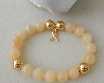 Soft Butter Yellow Jade and Gold Plated Childhood Cancer Awareness Bracelet