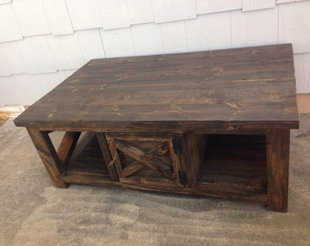 "Rustic, distressed, ""X"" coffee table"