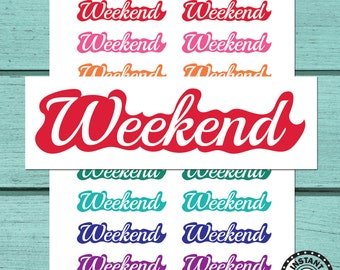 Weekend Banner Planner Stickers Printable Planner Stickers Download Planner Stickers (ni76)