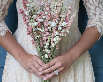 Pink Wildflower Bridesmaid Bouquet, Dried Bouquet
