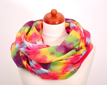 Multicolor Hand Painted Scarf, Hand dyed Silk Scarves for woman, Silk Shawl Fashions.