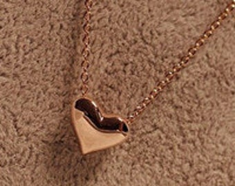 Heart Pendant Necklace Gold Tone - Free Shipping