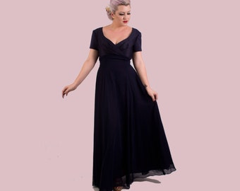 Vintage NWT Navy Blue Silk and Chiffon Long Gown