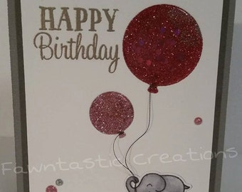 Elephant W/ Pink Balloons - Happy Birthday - For Her