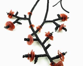 Necklace Aspecfiche Paillettes - Branches Inflorescence design