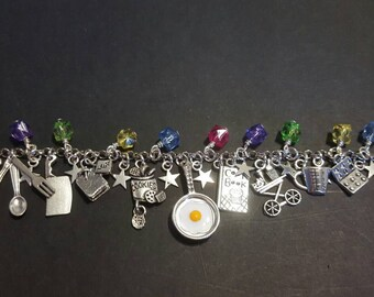 Cooking chef inspired tibetan silver charm bracelet