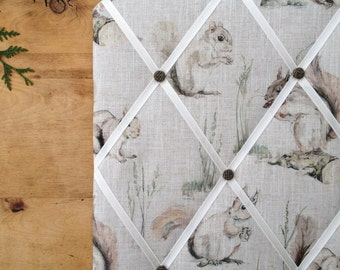 Fabric Memo Board, Red Squirrels, Pin Board, Handmade, A2 Size, Clarke & Clarke Linen, Harris Tweed, British Wildlife, Country Style