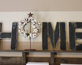 wood letters H M E  reclaimed wood WREATH NOT INCLUDED
