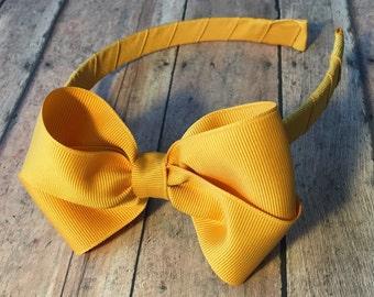 Mustard Yellow Bow on Hard Headband, Large Mustard Yellow Hair Bow, Ribbon Wrapped Headband, Mustard Yellow Big Girl Bow, Big Girl Bow