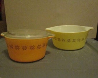 Vintage Pyrex Casserole Dishes; Town and Country Pattern Pyrex