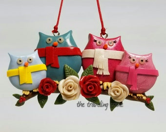 Polymer Clay, Christmas owl family