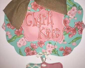 Baby Girl Hospital Door Hanger, Floral Birth Announcement Door Hanger