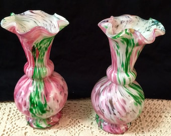 Vintage Pink and Green Glass Vases.
