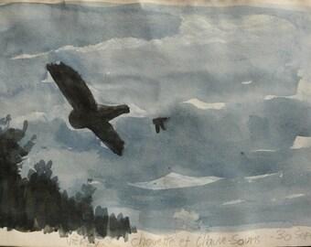 """Watercolor: """"OWL and bat"""""""
