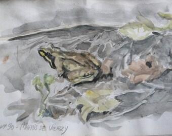 "Watercolor: ""La grenouille"""