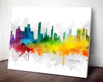 Honolulu Skyline Canvas, Honolulu Print, Honolulu Art, Honolulu Gift, Honolulu Cityscape, MMR-USHIHO05C