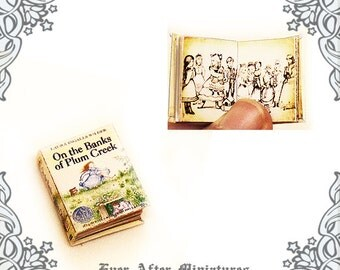 Little House on the Prairie Vol 4 Dollhouse Miniature Book – On the Banks of Plum Creek – 1:12 Laura Ingalls Wilder Book Printable DOWNLOAD