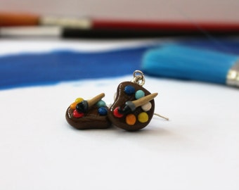 Artistic Polymer Clay Paint Palette Earrings