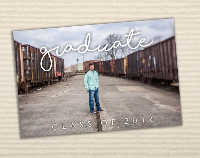 High School Graduation Invitation - Photo Graduation Announcement, Printed, Affordable, Party, Senior Photos, Class of, Invite, Cheap