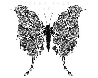 Covered up with Flowers - Carnation Swallowtail Ink Print
