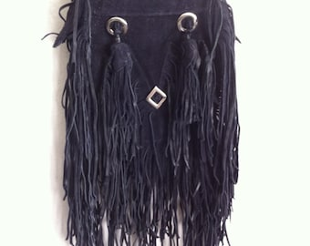 Black handmade crossbody women's bag, real suede, with fashionable leather fringe, with metal rivets and leather fringe, new, size-small.